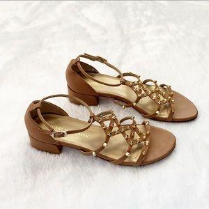 Like New Stuart Weitzman Tan Gold Studded Sandals
